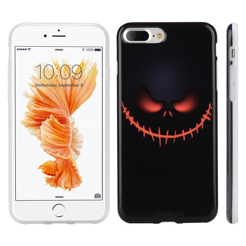 [Apple Phone 7 Plus] (5.5 inch) Case, Slim & Flexible Anti-shock Crystal Silicone Protective TPU Gel Skin Case Cover [Black Pirate Face]