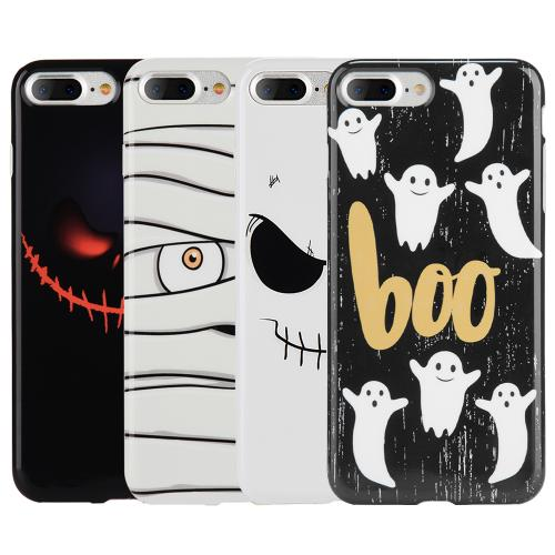 Apple Phone 7 Plus (5.5 inch) Case, Slim & Flexible Anti-shock Crystal Silicone Protective TPU Gel Skin Case Cover [Boo Ghosts]