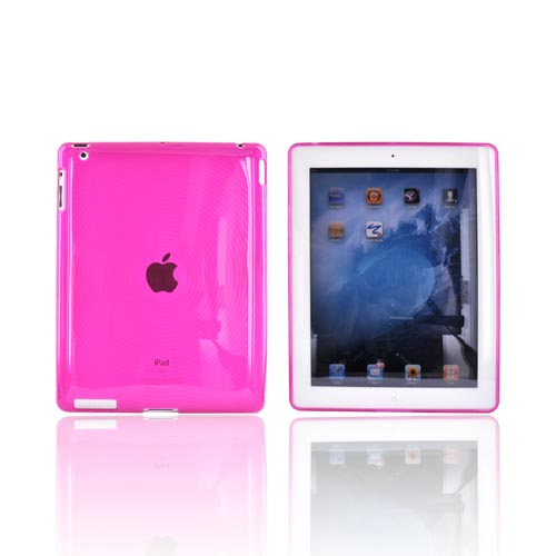 Apple iPad (2nd & 3rd Gen.) Crystal Silicone Case - Circles on Hot Pink