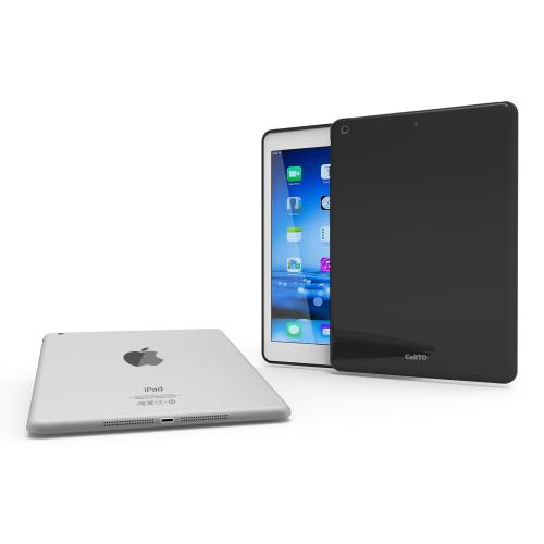 Black Anti-Slip TPU Crystal Silicone Skin Case & Free Screen Protector for Apple iPad Air