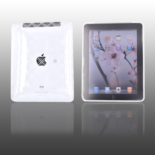 Apple iPad (1st Gen) 1st Crystal Silicone Case, Rubber Skin - Checkered Plaid on Transparent Clear
