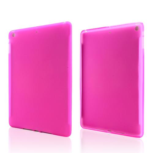 Frosted Hot Pink Crystal Silicone Skin Case for Apple iPad Air