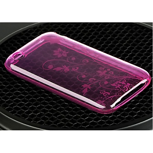 Apple iPhone 3G 3GS Crystal Silicone Case - Butterfly and Flowers on Transparent Magenta