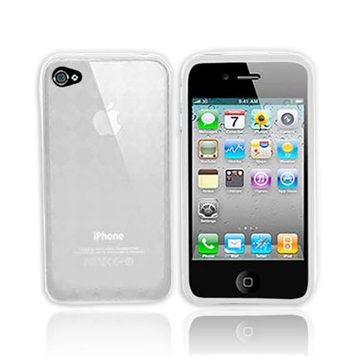 Apple iPhone 4 Crystal Silicone Case, Rubber Skin - Argyle Print Transparent Clear