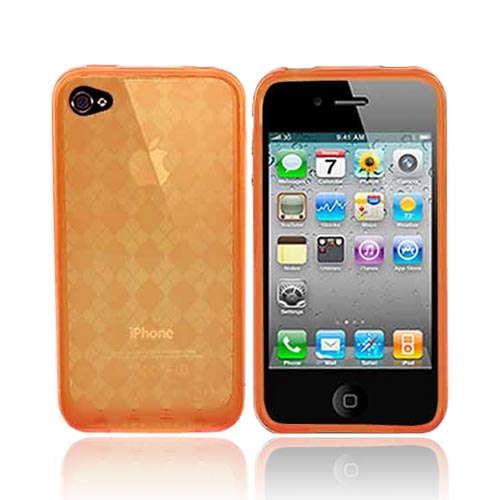 Apple iPhone 4 Crystal Silicone Case, Rubber Skin - Argyle Print Transparent Orange