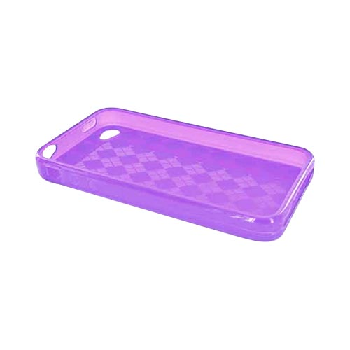 Apple iPhone 4 Crystal Silicone Case, Rubber Skin - Argyle Print Transparent Purple