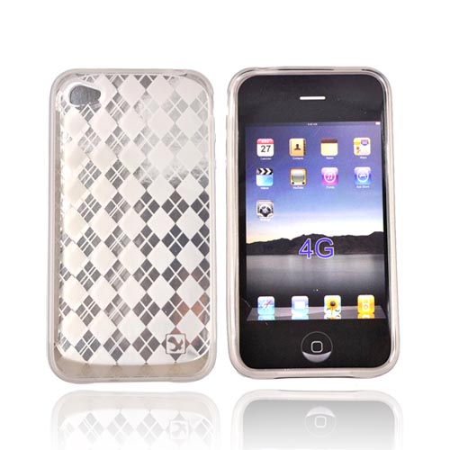Apple iPhone 4 Crystal Silicone Case, Rubber Skin - Argyle Diamonds on Transparent Smoke