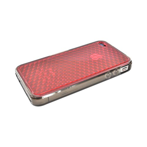 Apple iPhone 4 Crystal Silicone Case w/ Diamond Texture Hard Back - Transparent Red