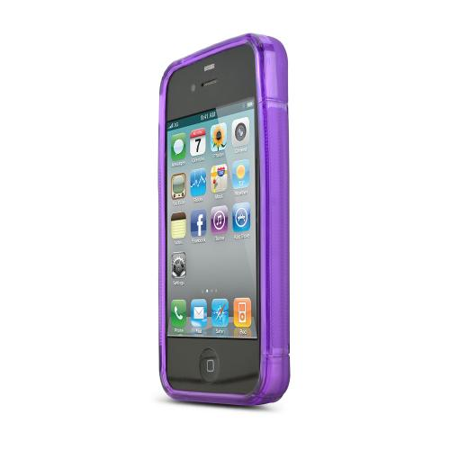 Apple Verizon/ AT&T iPhone 4, iPhone 4S Crystal Silicone Case 2 Tone Frosted - Transparent Purple