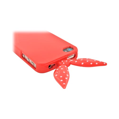AT&T/ Verizon Apple iPhone 4, iPhone 4S Polka Dot Ribbon Crystal Silicone Case w/ Pink Heart Stand - Red