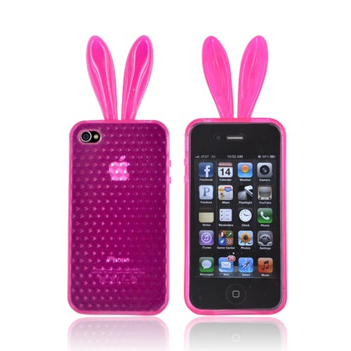 AT&T/ Verizon Apple iPhone 4, iPhone 4S Crystal Silicone Case w/ Bunny Ears - Hot Pink