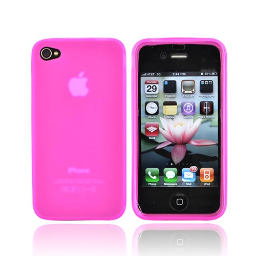 Apple iPhone 4 Crystal Silicone Case - Hot Pink