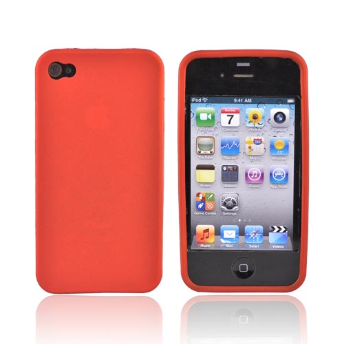 AT&T/Verizon Apple iPhone 4, iPhone 4S Crystal Silicone Case - Rubberized Orange