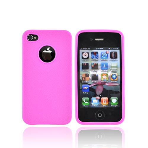 Luxmo Apple iPhone 4 Crystal Silicone Case - Leather Textured Hot Pink