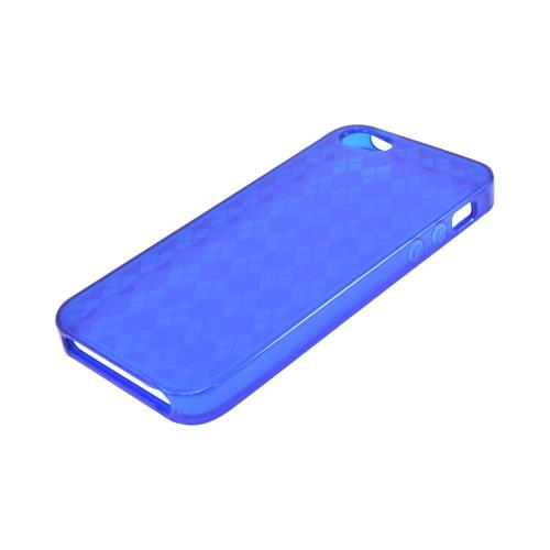 Apple iPhone 5/5S Crystal Silicone Case - Argyle Blue