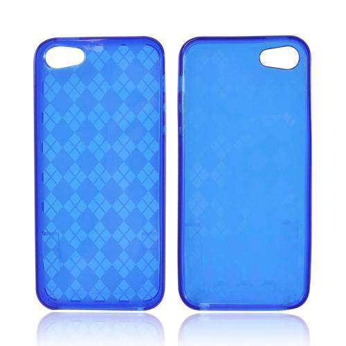 Apple iPhone SE / 5 / 5S  Case,  [Argyle Blue]  Slim & Flexible Anti-shock Crystal Silicone Protective TPU Gel Skin Case Cover