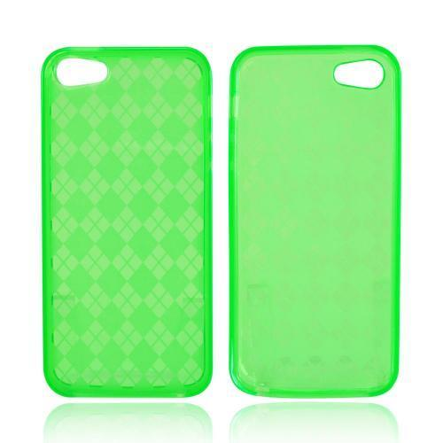 Apple iPhone SE / 5 / 5S  Case,  [Argyle Green]  Slim & Flexible Anti-shock Crystal Silicone Protective TPU Gel Skin Case Cover