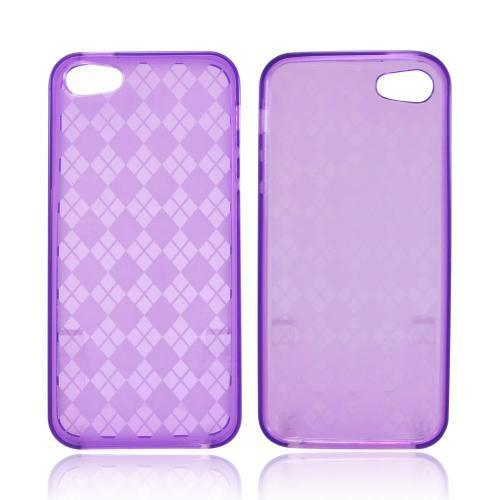 Apple iPhone 5/5S Crystal Silicone Case - Argyle Purple