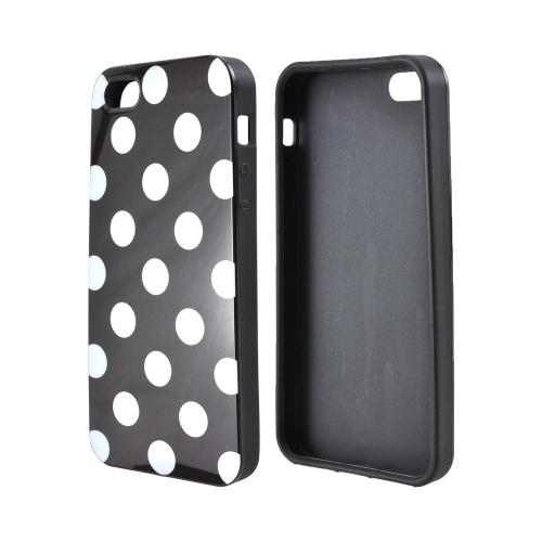 Apple iPhone SE / 5 / 5S  Case,  [White Polka Dots on Black]  Slim & Flexible Anti-shock Crystal Silicone Protective TPU Gel Skin Case Cover