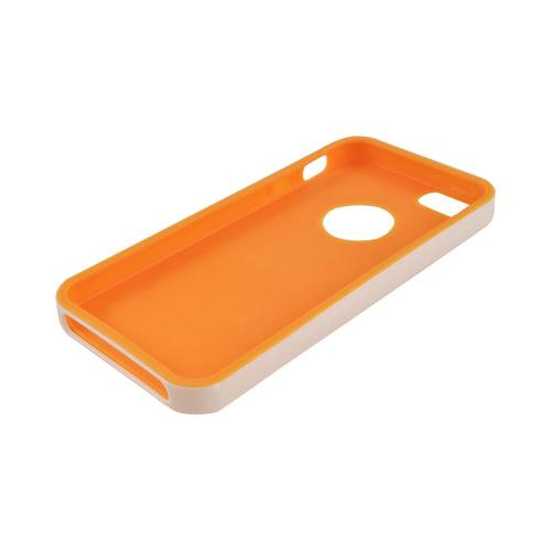 Apple iPhone SE / 5 / 5S  Case,  [Orange/ White]  Slim & Flexible Anti-shock Crystal Silicone Protective TPU Gel Skin Case Cover w/ Bumper