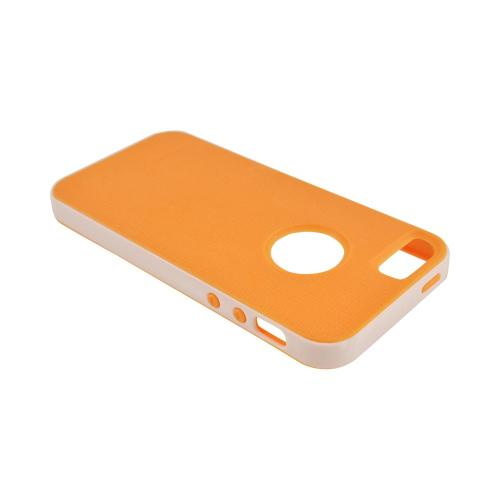 Apple iPhone 5/5S Crystal Silicone Case w/ Bumper - Orange/ White