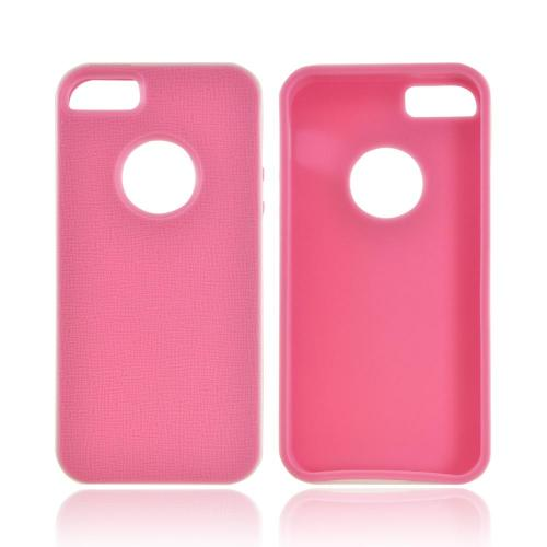 Apple iPhone 5/5S Crystal Silicone Case w/ Bumper - Pink/ White