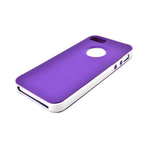 Apple iPhone 5/5S Crystal Silicone Case w/ Bumper - Purple/ White