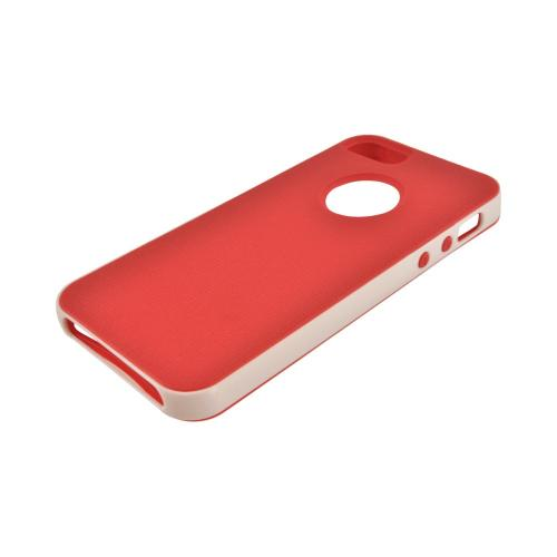 Apple iPhone SE / 5 / 5S  Case,  [Red/ White]  Slim & Flexible Anti-shock Crystal Silicone Protective TPU Gel Skin Case Cover w/ Bumper