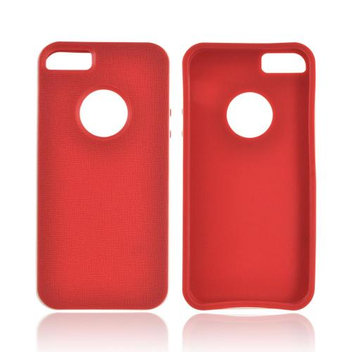 Apple iPhone 5/5S Crystal Silicone Case w/ Bumper - Red/ White