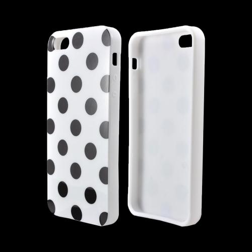 Apple iPhone SE / 5 / 5S  Case,  [Black Polka Dots on White]  Slim & Flexible Anti-shock Crystal Silicone Protective TPU Gel Skin Case Cover