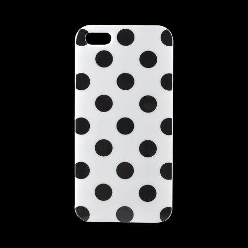 Apple iPhone 5/5S Crystal Silicone Case - Black Polka Dots on White