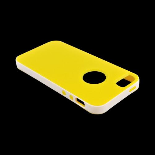 Apple iPhone 5/5S Crystal Silicone Case w/ Bumper - Yellow/ White