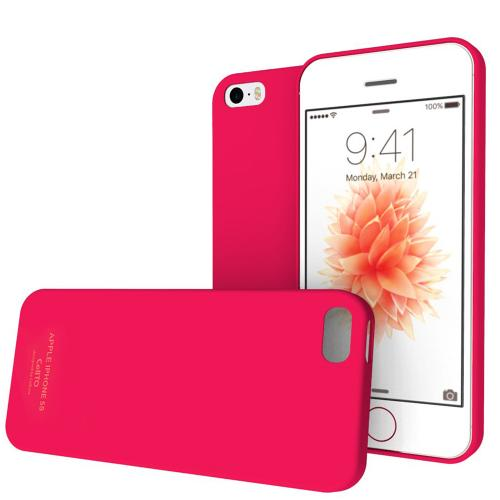 Apple iPhone SE / 5 / 5S  Case,  [Candy Apple Red]  Slim & Flexible Anti-shock Crystal Silicone Protective TPU Gel Skin Case Cover w/ Free Screen Protector