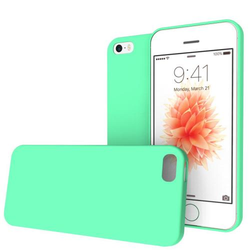 Apple iPhone SE / 5 / 5S  Case,  [Mint]  Slim & Flexible Anti-shock Crystal Silicone Protective TPU Gel Skin Case Cover w/ Free Screen Protector