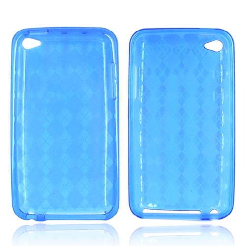 Luxmo Apple iPod Touch 4 Crystal Silicone Case - Diamonds on Blue
