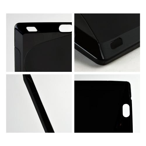 Shiny/ Frost Black S-Shape Crystal Silicone Skin Case for Amazon Kindle Fire HDX 7
