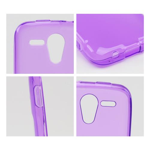 Purple w/ Frosted Back Crystal Silicone Skin Case for Kyocera Hydro Edge
