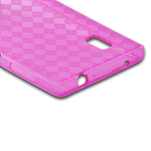 Argyle Hot Pink Crystal Silicone Case for LG Optimus G (AT&T)