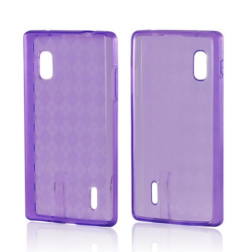 Purple Argyle Crystal Silicone Case for LG Optimus G (AT&T)