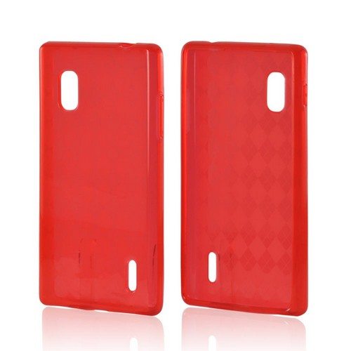 Red Argyle Crystal Silicone Case for LG Optimus G (AT&T)