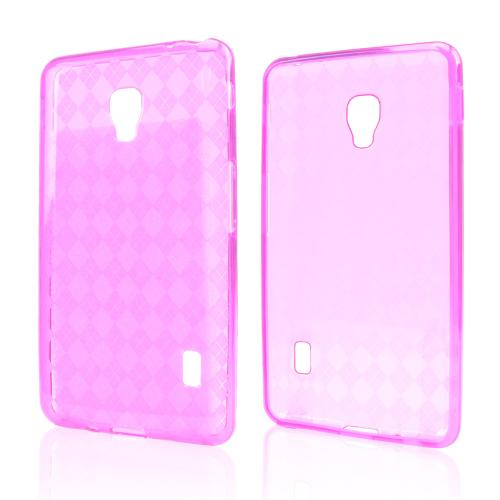 Argyle Hot Pink Crystal Silicone Skin Case for LG Optimus F6