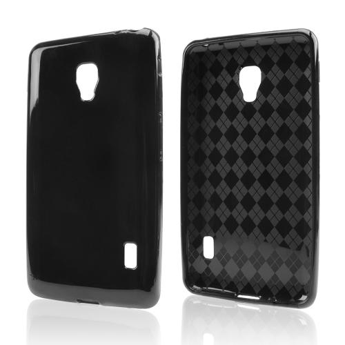 Black (Argyle Interior) Crystal Silicone Skin Case for LG Optimus F6