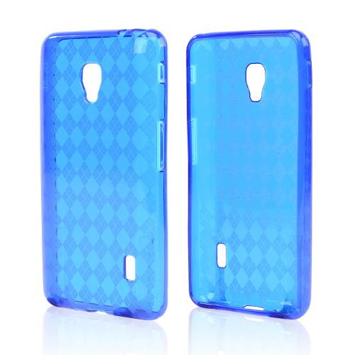 Argyle Blue Crystal Silicone Skin Case for LG Optimus F6