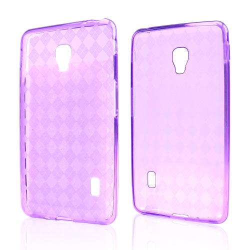 Argyle Purple Crystal Silicone Skin Case for LG Optimus F6