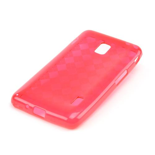 Argyle Red Crystal Silicone Skin Case for LG Optimus F6