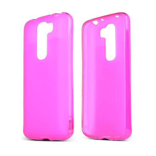 Hot Pink/ Frost LG G2 Mini Flexible Crystal Silicone TPU Case - Conforms To Your Phone Without Stretching Out!