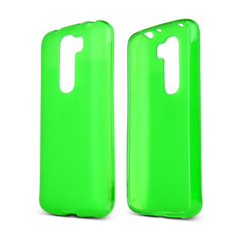 Neon Green/ Frost LG G2 Mini Flexible Crystal Silicone TPU Case - Conforms To Your Phone Without Stretching Out!