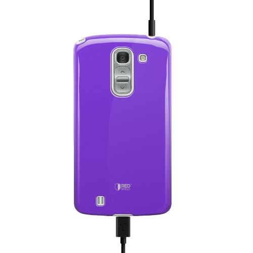 Purple Exclusive RED SHIELD Anti-Slip TPU Crystal Silicone Case + Free Screen Protector for LG G Pro 2