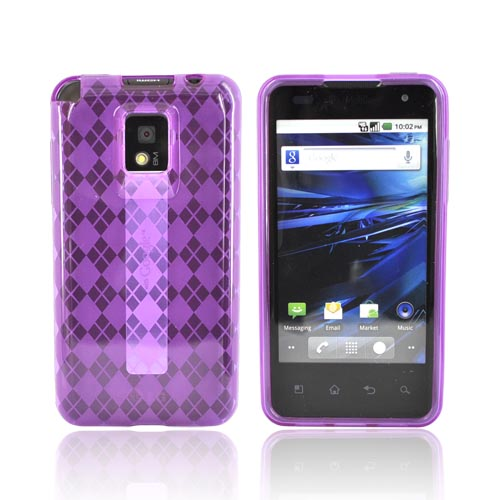 T-Mobile G2X Crystal Silicone Case - Argyle Purple