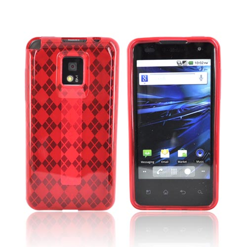 T-Mobile G2X Crystal Silicone Case - Argyle Red